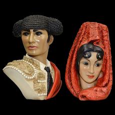 c1960s Marwal Set of 2 Spanish Matador Man & Woman Chalkware Bust Sculpture