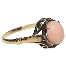 Victorian Era Sterling Vermeil Pink Coral Ring ~ Size 9