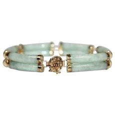 14k Gold Light Green Genuine Jade Double Barrel Link Bracelet