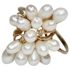 14K Gold Freshwater White Pearl Cluster & Diamond Accent Cocktail Ring