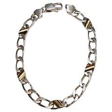 Tiffany & Co Sterling Silver 18k Gold Oval Cable Link Bracelet
