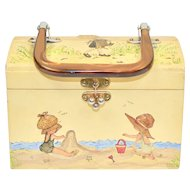 Signed EVA Holly Hobbie Style Decoupage Wood Box Purse w/ Lucite Handle