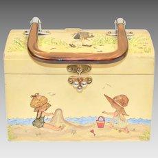 Signed EVA Holly Hobbie Style Decoupage Wood Box Purse w/ Lucite Handle