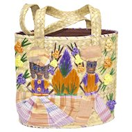 Hand-woven Raffia & Fabric Ethnic Style Tourist Souvenir Straw Bucket Bag/Purse