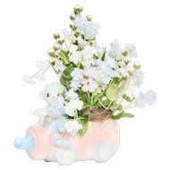 Napco Lamb Driving Baby Bottle Car Blue & Pink Ceramic Planter with Flowers