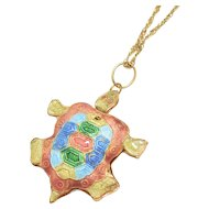 Large Articulated Enamel Turtle Pendant Sterling Vermeil Chain