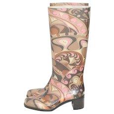 Emilio Pucci Psychedelic Pink & Brown Signature Rubber Rain Boots