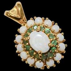 Sterling Vermeil Fire Opal & Green Emerald Round Pendant