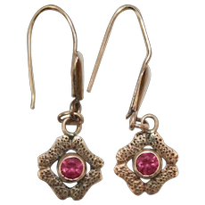 Victorian Era 10K Gold Bezel Set Ruby Petite Pierced Earrings
