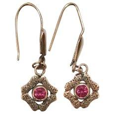Victorian Era 10K Gold Bezel Set Ruby Petite Pierced Earrings