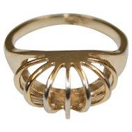 Signed G.E. ESPO Two Tone Shrimp Design Ring Size 8