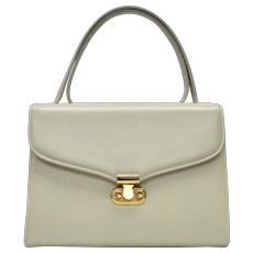 1960's Signed Block Beige Leather Kelly Style Bag