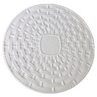 Varages France White Wicker Style Basketweave Ceramic Cake Plate
