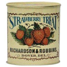 """Strawberry Treat"" Richardson & Robbins Bristol Ware Decorative Collectible Tin"