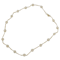 14K Gold Cultured White Pearl Station Necklace