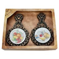 Miller Studio Set of 2 Chalkware Kitchen Trivet Decorative Wall Art/Hangings NOS