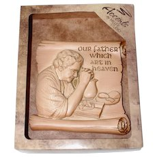 """1986 Miller Studio """"Our Father Which Art in Heaven"""" Kitchen Prayer Chalkware Wall Plaque NOS"""