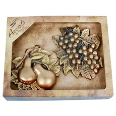 Miller Studio Set of 2 Kitchen Chalkware Wall Plaques-Pears and Grapes