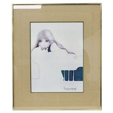 "1970's Christine Rosamond ""Blue Ice"" Lithograph Art Print in Frame"