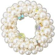 Faux White Pearl Aurora Borealis Crystal Wreath Circle Pin