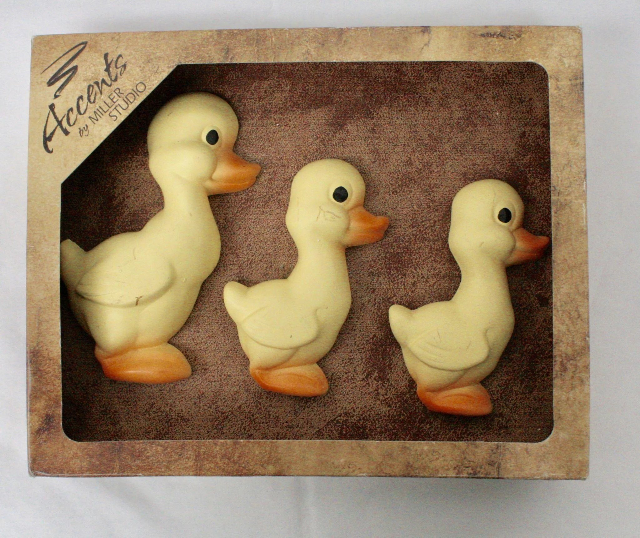 Miller Studio Set of 3 Yellow Ducks Chalkware Plaques/Wall Art Decor ...