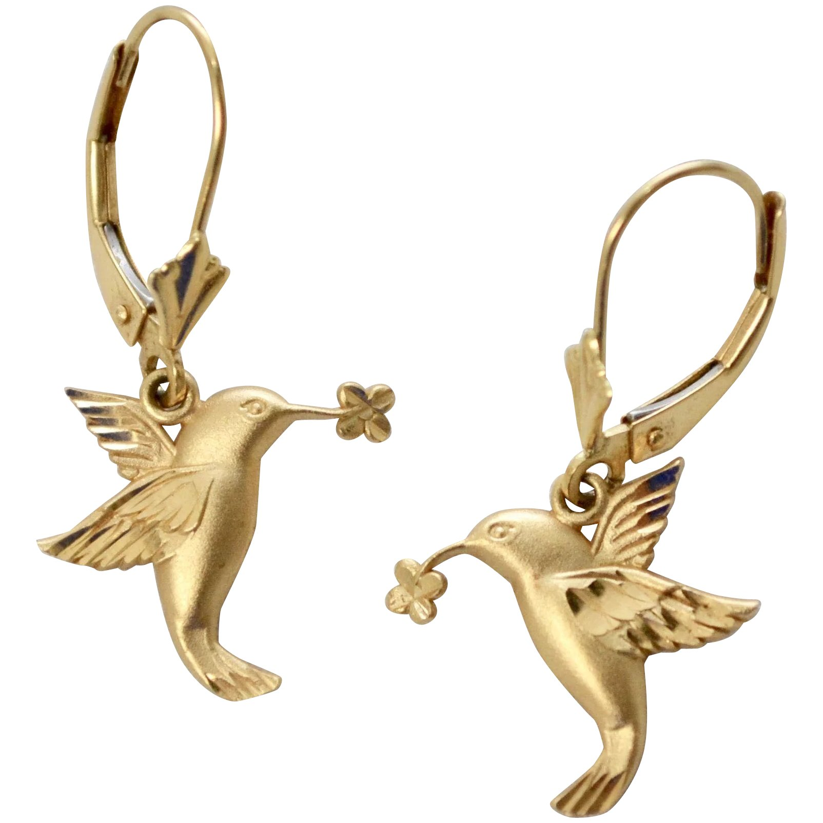 Signed 14k Gold Hummingbird Leverback Pierced Earrings Click To Expand