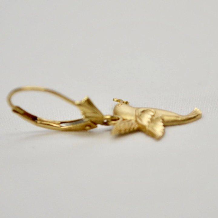 Signed 14k Gold Hummingbird Leverback Pierced Earrings