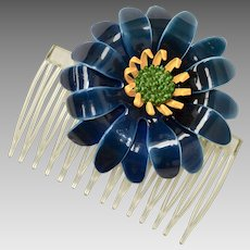 Large Navy Blue & Yellow Enamel Flower Hair Comb Adornment