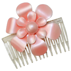 Large Satin Pink Enamel Flower Hair Comb Adornment