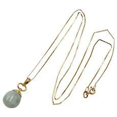 14K Gold Green Jadeite Jade Ball Drop Sphere Pendant Necklace