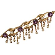 Victorian Era 14k Gold Purple Amethyst & White Seed Pearl Bar Pin/Brooch