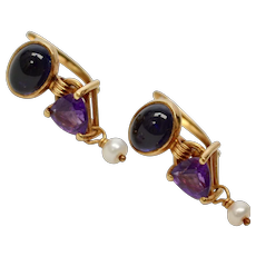 14k Gold Blue Sapphire Amethyst & White Seed Pearl Pierced Dangle Earrings