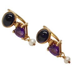 14k Gold Blue Sapphire Amethyst & White Seed Pearl Pierced Dangle Earrings