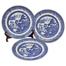 """Johnson Brothers Blue Willow Set of 3 10"""" Dinner Plates"""