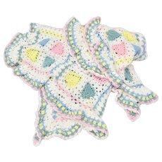 Pastel Blue, Pink & Yellow Heart White Ruffled Crochet Baby Blanket