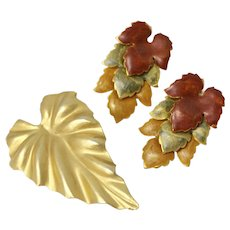 Articulated Enamel Autumn Leaf Pierced Earrings with Goldtone Pin