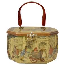 "Anton Pieck ""To Market"" Decoupage Wood Octagonal Box Purse"