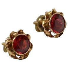 10k Gold Victorian Era Bezel Set Synthetic Red Ruby Screw-back Post Earrings