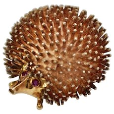 14k Gold & Sterling Silver Hedgehog/Porcupine with Ruby Eyes Figural Pin/Brooch