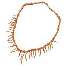 """16"""" Long Pink Coral Branch Necklace"""