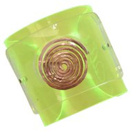Signed DR Funky Neon Green Lucite & Hammered Copper Artisan Made Cuff Bracelet