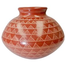 Handcrafted Etched Clay Pottery Southwestern Style Rotund Vase