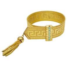 Victorian Revival Blue Glass Turquoise Greek Key Goldtone Mesh Tassel Bracelet