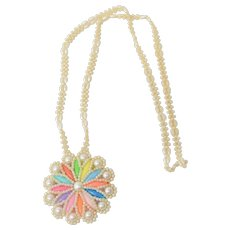 Handmade Colorful Faux White Pearl Beaded Southwestern Style Necklace