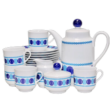 22-Piece Winterling Roslau Bavaria Germany Mid-Century Modern Blue & White Tea & Dessert Set