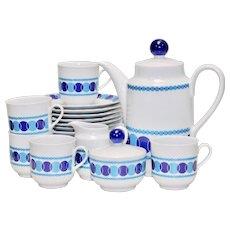 22-Piece Winterling Roslau Bavaria Germany Mid-Century Modern Blue & White Tea & Dessert Set