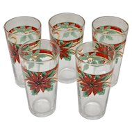 Vintage KIG Indonesia Set of 5 Christmas Poinsettia with Ribbons Drinking Glasses/Tumblers