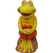 """Huge Signed 19"""" Tall Painted Green Frog with Orange Glass Eyes Chalkware Bank"""