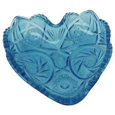Kemple / McKee Aqua Blue Glass Aztec Pattern Heart Shaped Candy or Nut Dish