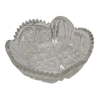 Large Antique Imperial Glass Nucut Pressed Glass Hobstar Pattern Sawtooth Edge Serving Bowl